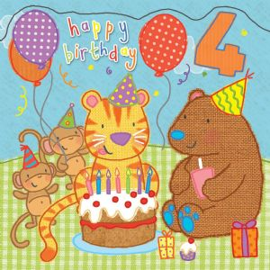 Age 4 Sparkly Birthday Card for Children TW424